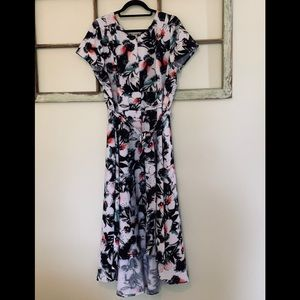 Size 18 Lane Bryant Belted High-Low Floral Dress